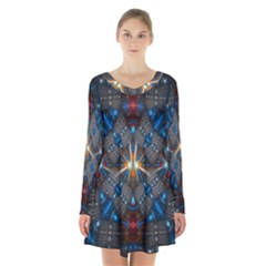 Fancy Fractal Pattern Background Accented With Pretty Colors Long Sleeve Velvet V Neck Dress