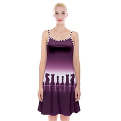 Chess Pieces Spaghetti Strap Velvet Dress