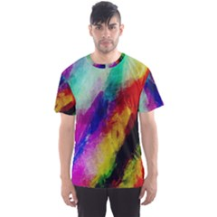 Colorful Abstract Paint Splats Background Men s Sports Mesh Tee