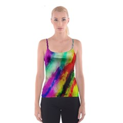Colorful Abstract Paint Splats Background Spaghetti Strap Top