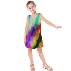 Colorful Abstract Paint Splats Background Kids  Sleeveless Dress