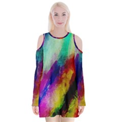 Colorful Abstract Paint Splats Background Velvet Long Sleeve Shoulder Cutout Dress