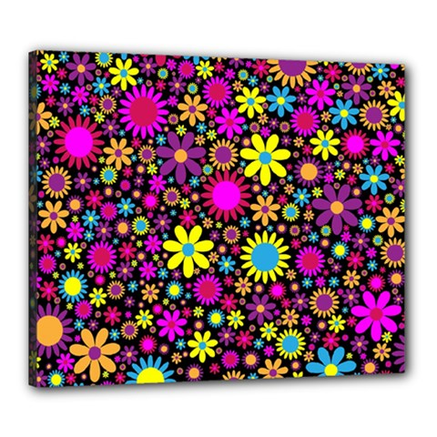 Bright And Busy Floral Wallpaper Background Canvas 24  X 20