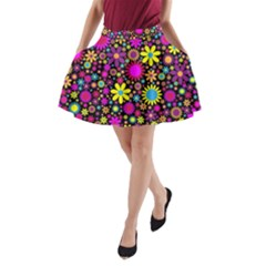 Bright And Busy Floral Wallpaper Background A Line Pocket Skirt by Nexatart
