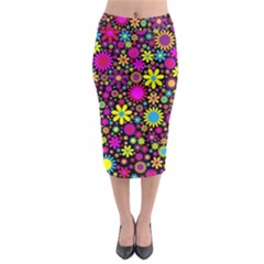 Bright And Busy Floral Wallpaper Background Midi Pencil Skirt by Nexatart