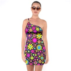 Bright And Busy Floral Wallpaper Background One Soulder Bodycon Dress