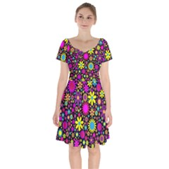 Bright And Busy Floral Wallpaper Background Short Sleeve Bardot Dress