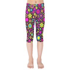Bright And Busy Floral Wallpaper Background Kids  Capri Leggings