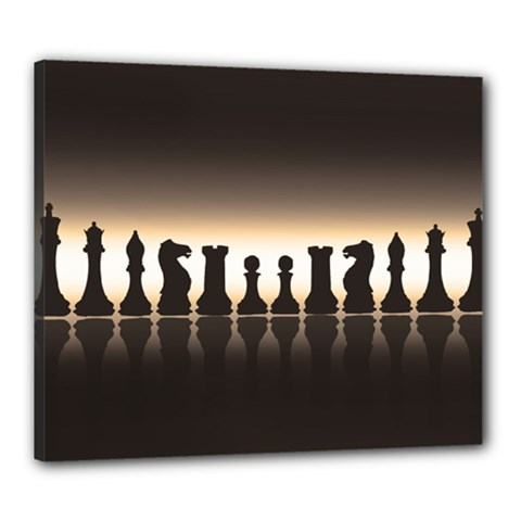 Chess Pieces Canvas 24  X 20  by Valentinaart