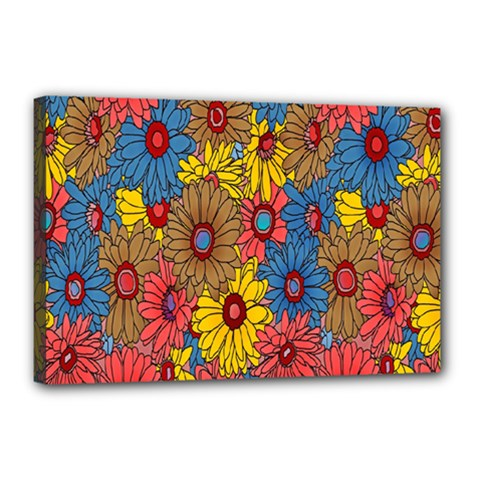 Background With Multi Color Floral Pattern Canvas 18  X 12