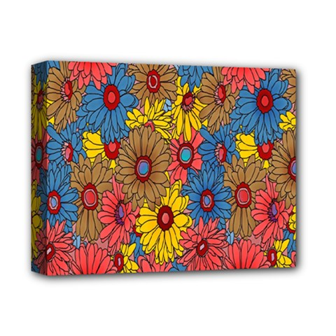 Background With Multi Color Floral Pattern Deluxe Canvas 14  X 11  by Nexatart