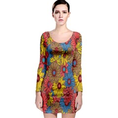 Background With Multi Color Floral Pattern Long Sleeve Bodycon Dress