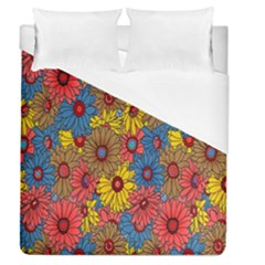 Background With Multi Color Floral Pattern Duvet Cover (queen Size)