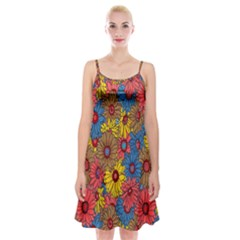 Background With Multi Color Floral Pattern Spaghetti Strap Velvet Dress