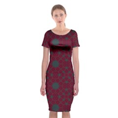 Blue Hot Pink Pattern With Woody Circles Classic Short Sleeve Midi Dress by Nexatart