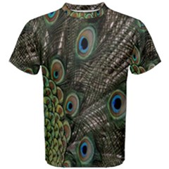 Close Up Of Peacock Feathers Men s Cotton Tee