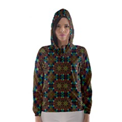 Seamless Abstract Peacock Feathers Abstract Pattern Hooded Wind Breaker (women)