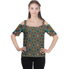 Seamless Abstract Peacock Feathers Abstract Pattern Women s Cutout Shoulder Tee by Nexatart