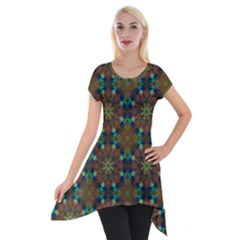 Seamless Abstract Peacock Feathers Abstract Pattern Short Sleeve Side Drop Tunic