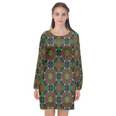 Seamless Abstract Peacock Feathers Abstract Pattern Long Sleeve Chiffon Shift Dress