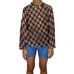 Houndstooth2 Black Marble & Brown Stone Kids  Long Sleeve Swimwear