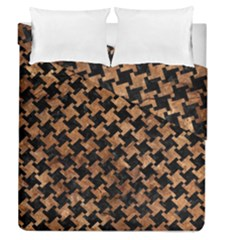 Houndstooth2 Black Marble & Brown Stone Duvet Cover Double Side (queen Size) by trendistuff