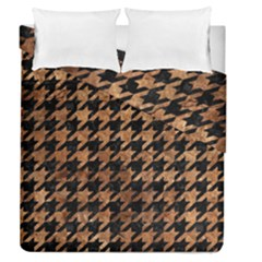 Houndstooth1 Black Marble & Brown Stone Duvet Cover Double Side (queen Size) by trendistuff