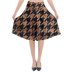 Houndstooth1 Black Marble & Brown Stone Flared Midi Skirt