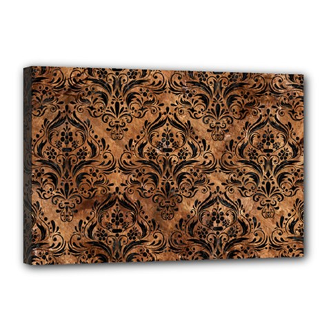 Damask1 Black Marble & Brown Stone (r) Canvas 18  X 12  (stretched) by trendistuff
