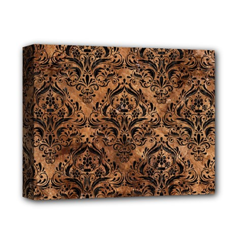 Damask1 Black Marble & Brown Stone (r) Deluxe Canvas 14  X 11  (stretched) by trendistuff