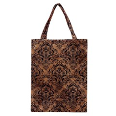 Damask1 Black Marble & Brown Stone (r) Classic Tote Bag by trendistuff