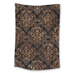 Damask1 Black Marble & Brown Stone Large Tapestry by trendistuff