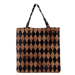 Diamond1 Black Marble & Brown Stone Grocery Tote Bag by trendistuff
