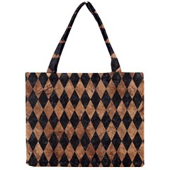 Diamond1 Black Marble & Brown Stone Mini Tote Bag by trendistuff