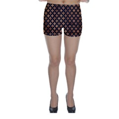 Circles3 Black Marble & Brown Stone (r) Skinny Shorts by trendistuff