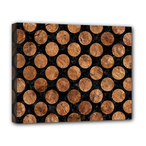 Circles2 Black Marble & Brown Stone Deluxe Canvas 20  X 16  (stretched) by trendistuff