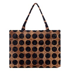 Circles1 Black Marble & Brown Stone (r) Medium Tote Bag