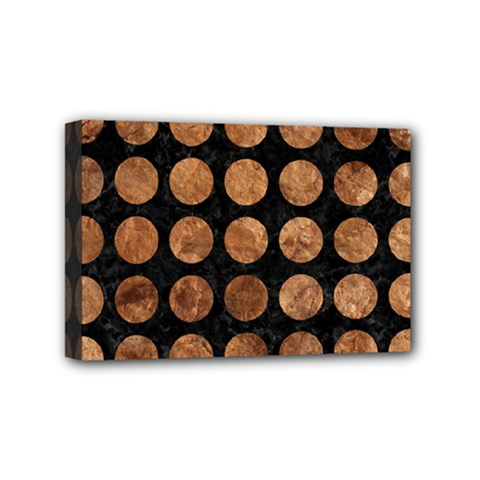 Circles1 Black Marble & Brown Stone Mini Canvas 6  X 4  (stretched) by trendistuff