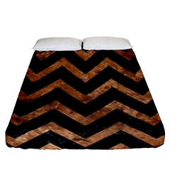 Chevron9 Black Marble & Brown Stone Fitted Sheet (california King Size) by trendistuff