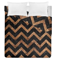 Chevron9 Black Marble & Brown Stone Duvet Cover Double Side (queen Size) by trendistuff