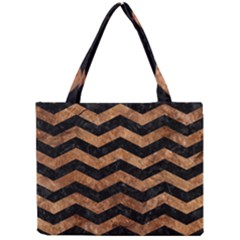 Chevron3 Black Marble & Brown Stone Mini Tote Bag by trendistuff