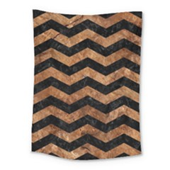 Chevron3 Black Marble & Brown Stone Medium Tapestry by trendistuff