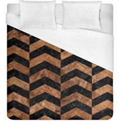 Chevron2 Black Marble & Brown Stone Duvet Cover (king Size) by trendistuff