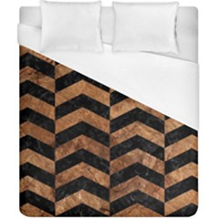 Chevron2 Black Marble & Brown Stone Duvet Cover (california King Size) by trendistuff