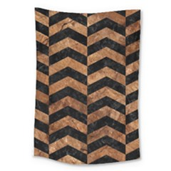 Chevron2 Black Marble & Brown Stone Large Tapestry by trendistuff
