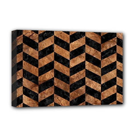 Chevron1 Black Marble & Brown Stone Deluxe Canvas 18  X 12  (stretched) by trendistuff