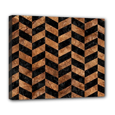 Chevron1 Black Marble & Brown Stone Deluxe Canvas 24  X 20  (stretched) by trendistuff