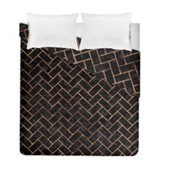 Brick2 Black Marble & Brown Stone Duvet Cover Double Side (full/ Double Size) by trendistuff