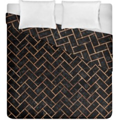 Brick2 Black Marble & Brown Stone Duvet Cover Double Side (king Size) by trendistuff