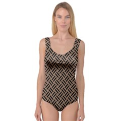 Woven2 Black Marble & Brown Colored Pencil (r) Princess Tank Leotard  by trendistuff